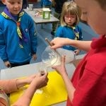 filling balloon with starch liquid