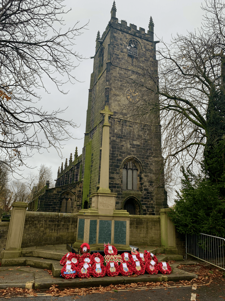 Poppy Wreaths at the Cenotaph, Penistone Church